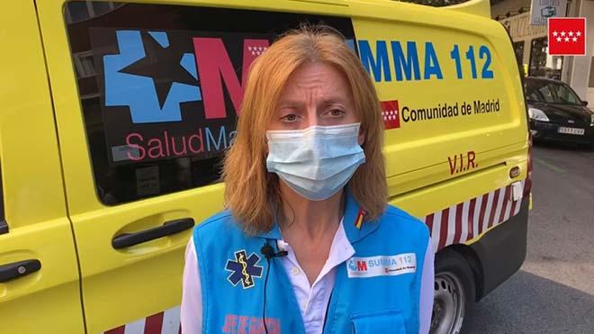 Declaraciones de Josefina Guerrero, jefa de guardia del SUMMA 112, quien ha explicado el suceso que ocurrió ayer en Madrid y que provocó la pelea entre dos individuos, que terminó con la muerte de uno de ellos.