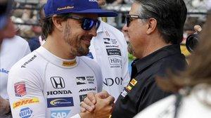 Fernando Alonso y Michael Andretti ya estuvieron juntos, en Indianápolis, en el 2017.