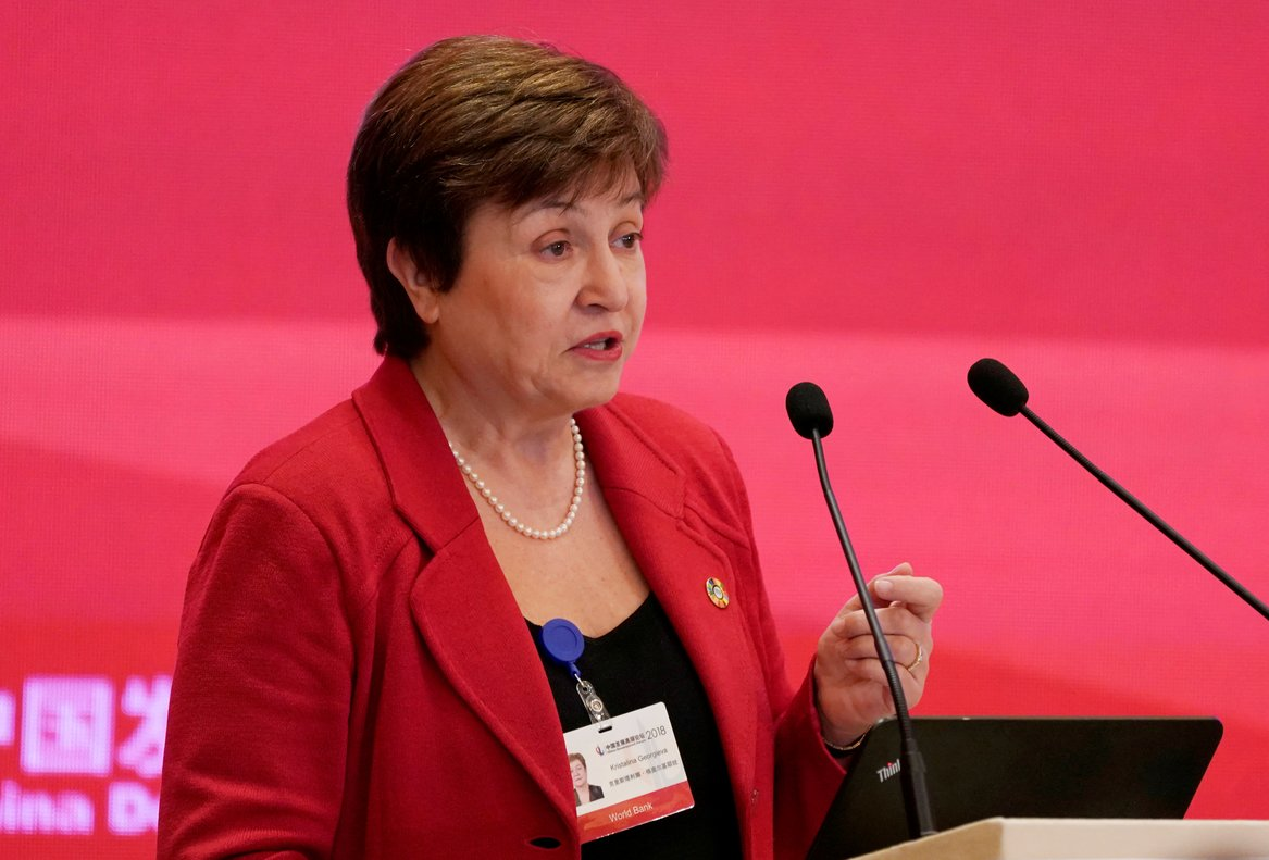 FILE PHOTO: World Bank Chief Executive Officer Kristalina Georgieva speaks at the annual session of China Development Forum (CDF) 2018 at the Diaoyutai State Guesthouse in Beijing, China March 25, 2018. REUTERS/Jason Lee/File Photo