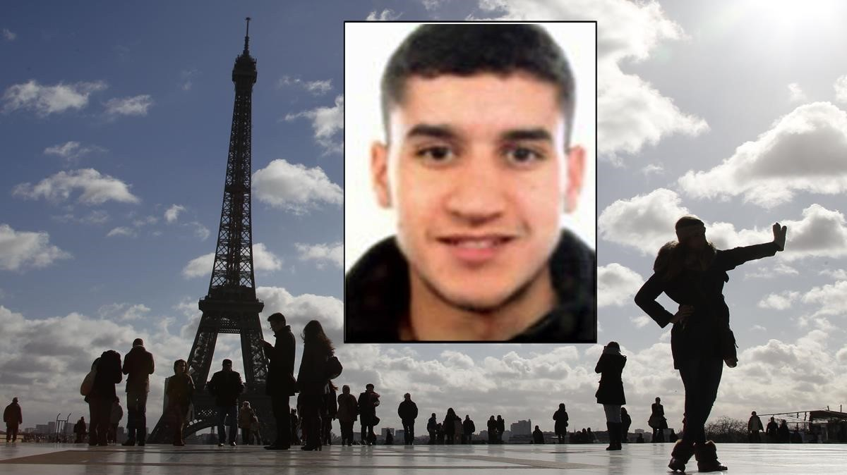 Fotomontaje con el rostro del terroristaYounes Abouyacouby la torre Eiffel de fondo.