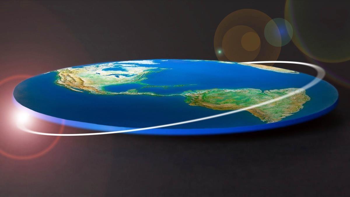 Espectacular simulació de la Tierra, según los teóricos de que es completamente plana.