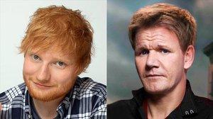 El cantante Ed Sheeran y el chef Gordon Ramsay.