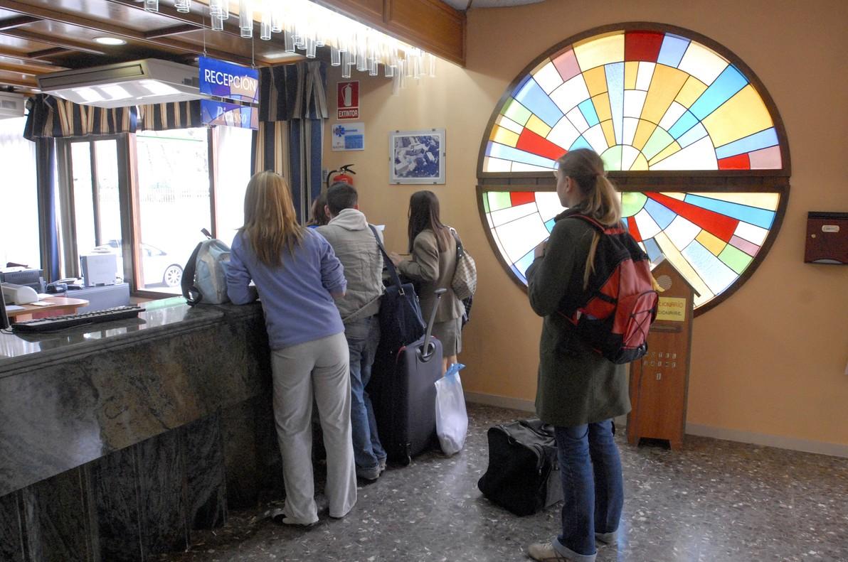 Recepción del hotel Jaume I de Salou, donde se detectóel primer brote.