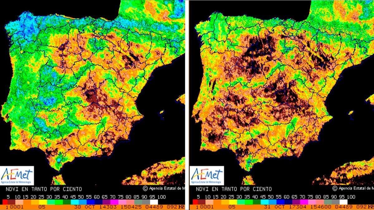 Mapa Satelital De España.La Sequia En Espana En Vision Satelital