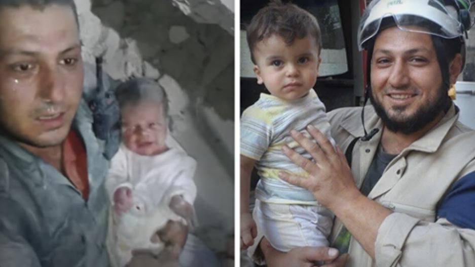 Jaled Omar en el moment en què va rescatar un nadó de dues setmanes d'entre la runa d'un bombardeig.