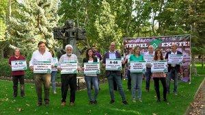Los candidatos de Teruel Existe, en la presentación del partido, el pasado octubre.