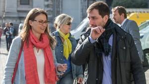 Los exconsellers Meritxell Serret y Toni Comín, el pasado abril, en Bruselas.