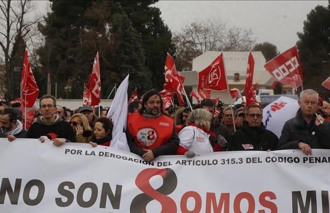 Manifestaciónde apoyo a los ocho sindicalistas de Airbus en Madrid.