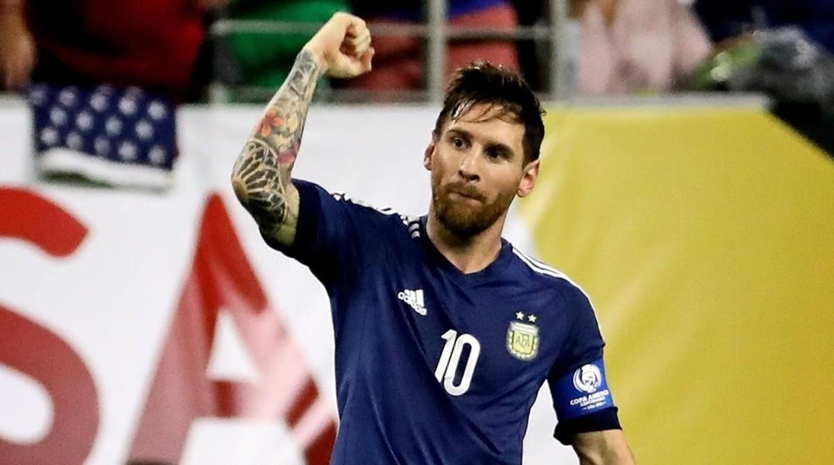Messi celebra el gol que ha anotado ante Estados Unidos que clasifica a Argentina para la final de la Copa América.