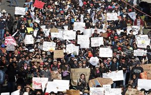 Protestas de estudiantes en México.