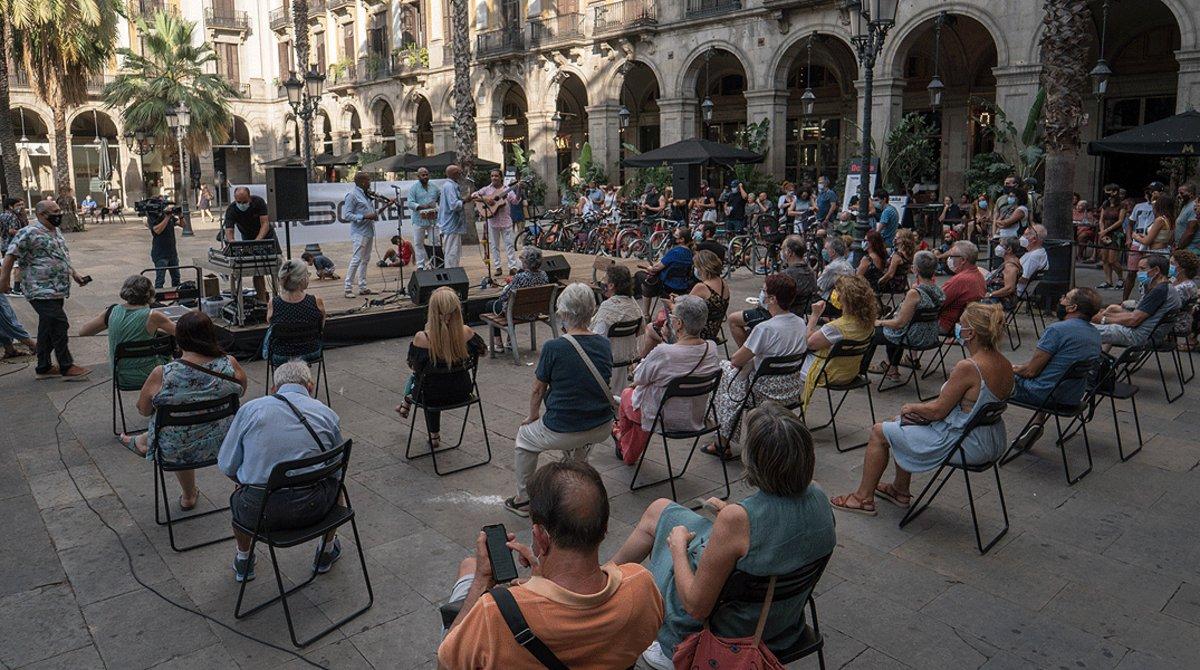 Un momento del concierto del cuarteto Sabor Cubano organizado por Jamboree en la plaza Reial, el pasado 17de agosto.