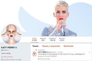 Captura de imagen del perfil de Kate Perry en Twitter, donde aparece la cifre desus 100 millones de seguidores.