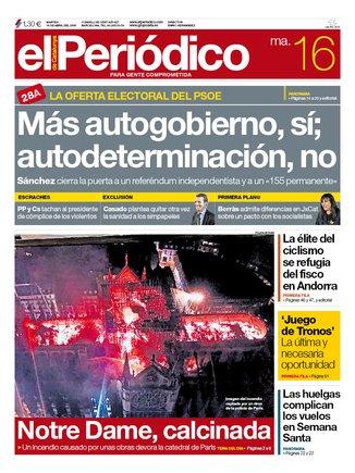 La portada de EL PERIÓDICO del 16 de abril del 2019