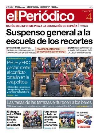 La portada de EL PERIÓDICO del 4 de diciembre del 2019.