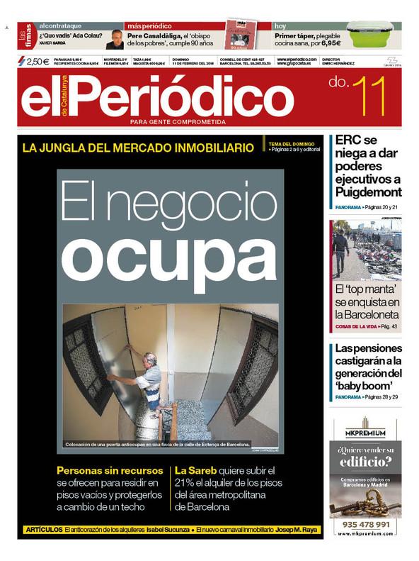 La portada de EL PERIÓDICO del 11 de febrero del 2018.