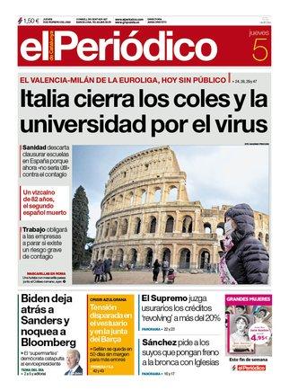 La portada de EL PERIÓDICO del 5 de marzo del 2020.