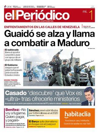 La portada de EL PERIÓDICO del 1 de mayo del 2019