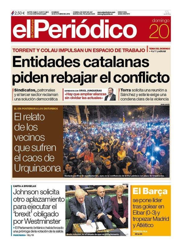 La portada de EL PERIÓDICO del 20 de octubre del 2019