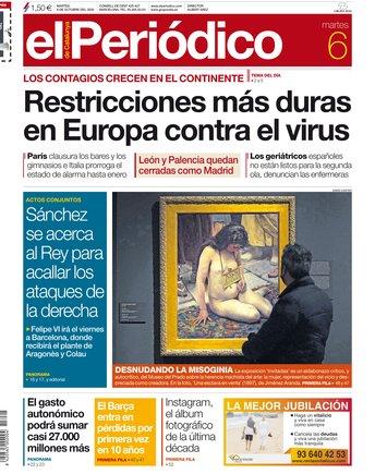 La portada de EL PERIÓDICO del 6 de octubre del 2020.