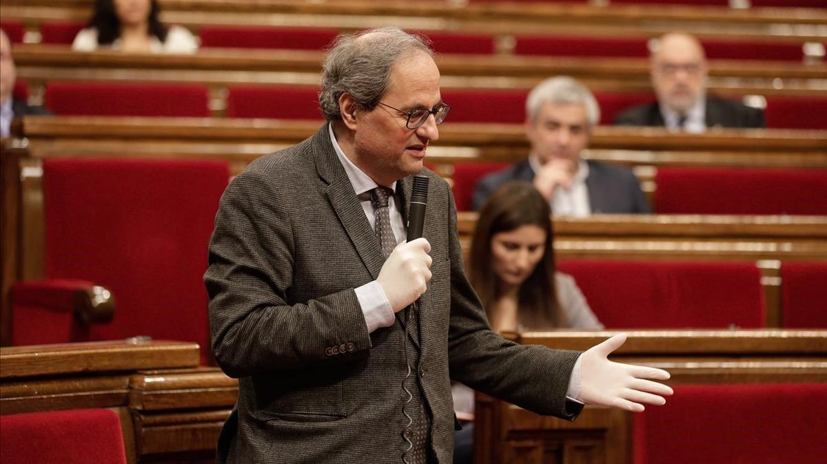 El 'president' Quim Torra, durante una de sus intervenciones en el Parlament.