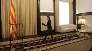 La presidenta del Parlament, Carme Forcadell, en la sala de audiencias.