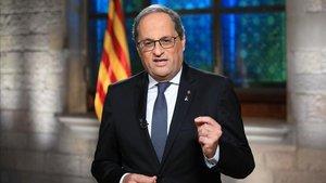 El presidente de la Generalitat, Quim Torra, durante su discurso institucional de la Diada.