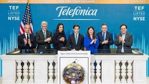 El presidente de Telefónica, José María Álvarez-Pallete, da inicio a la sesión de la bolsa de Nueva York
