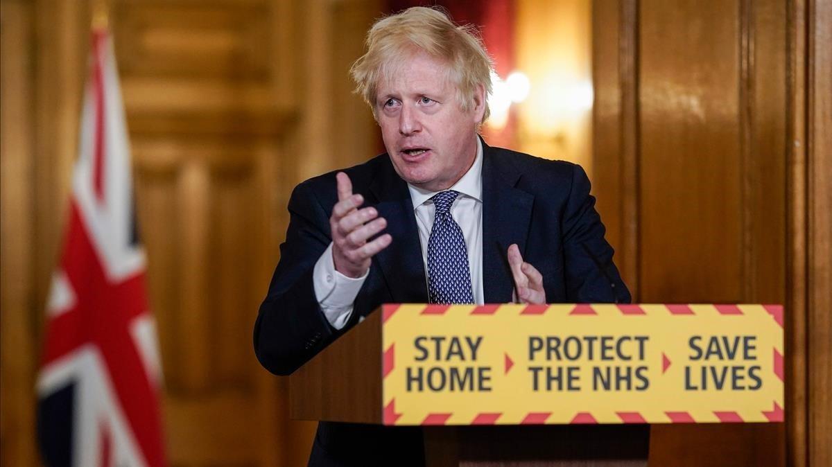 El primer ministro británico, Boris Johnson, durante una comparecencia.