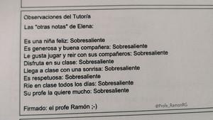 """Excel·lent en respecte i generositat: les """"altres notes"""" d'un profe sevillà"""