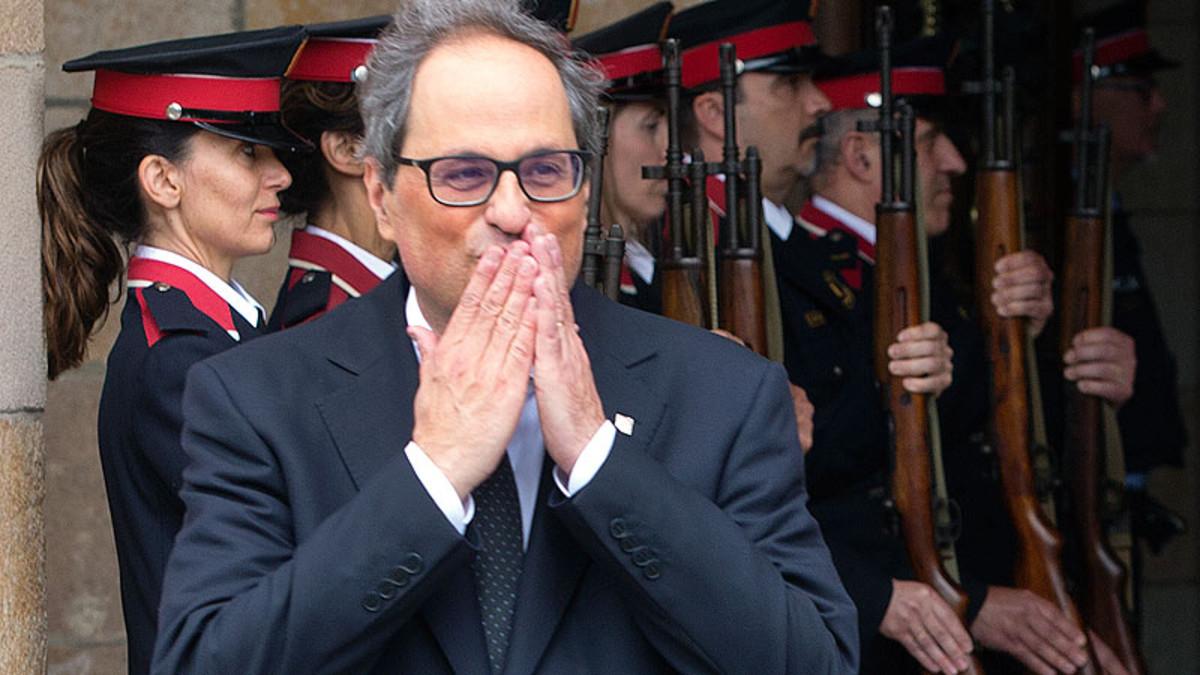 Quim Torra, a la salida del Parlament tras ser investido 'president' de la Generalitat.