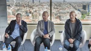 Robert de Niro, Nobu Matsuhisa y Meir Teper, en la presentación de su proyecto para el hotel Torre Catalunya.