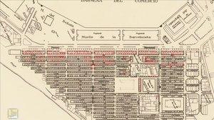En rojo, las zonas de la Barceloneta que recibieron más bombas durante la Guerra Civil, según un mapa de la época.