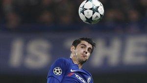 Morata, en un partido con el Chelsea.