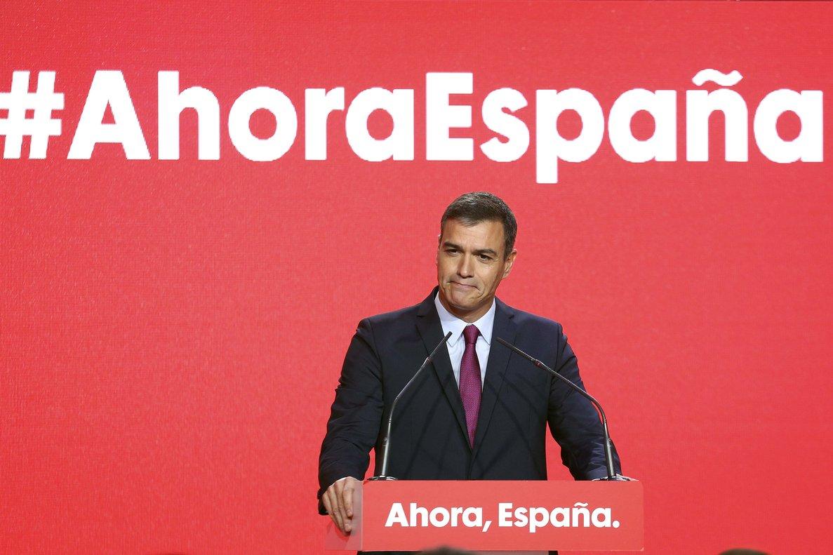 Pedro Sánchez, este lunes durante la presentación de la campaña del PSOE al 10-N.