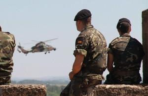 Soldados del Ejército español, en unas maniobras.
