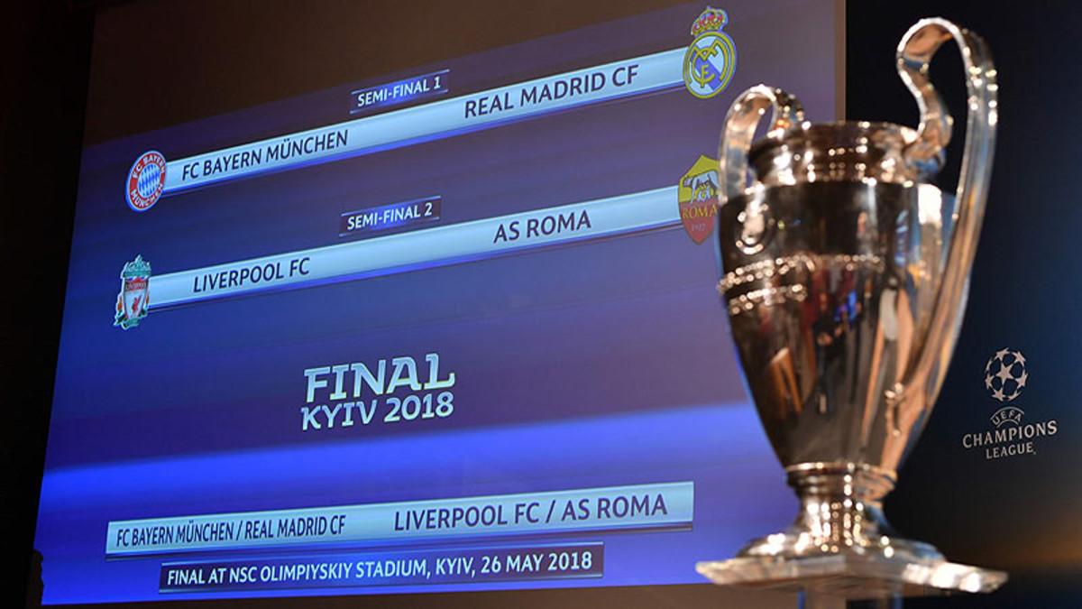 Sorteo de semifinales de la Champions 2017-2018.