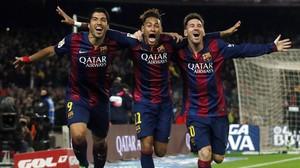 Suárez, Neymar y Messi, quizá la mejor delantera de la historia.