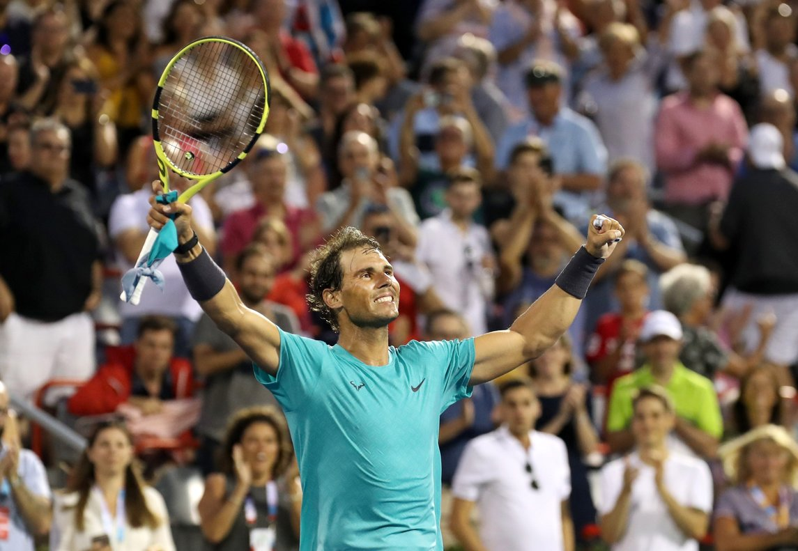 Aug 8 2019 Montreal Quebec Canada Rafael Nadal from Spain celebrates his win against Guido Pella from Greece not pictured during the Rogers Cup tennis tournament at Stade IGA Mandatory Credit Jean-Yves Ahern-USA TODAY Sports