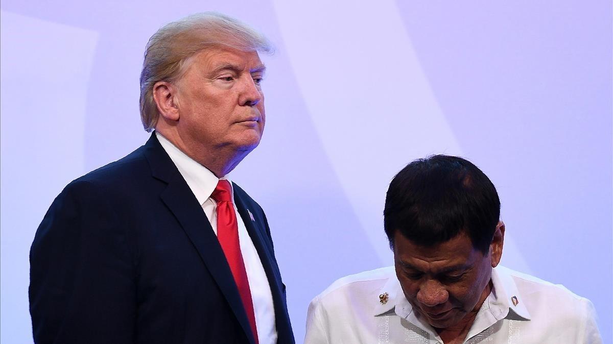 El presidente de EEUU,Donald Trump, y su homólogo filipinoRodrigo Duterte.