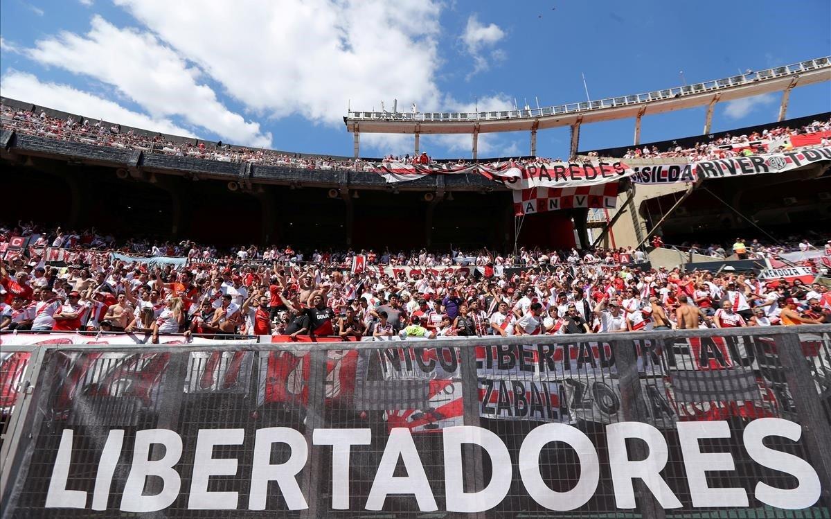 Una imagen de la grada de River antes del partido de ida de la Libertadores