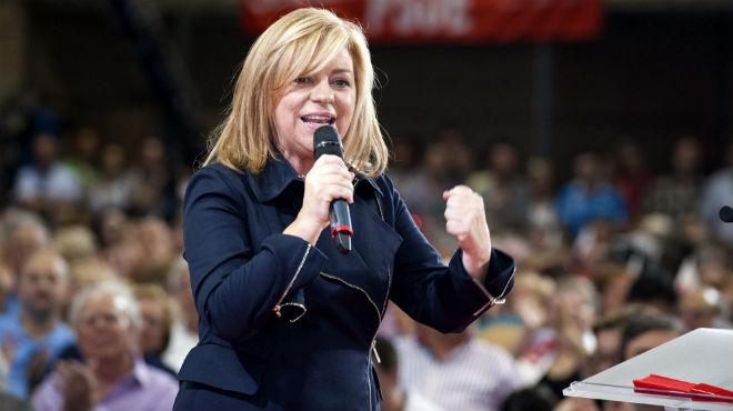 La número dos del PSOE ha asegurado quepara que no perdamos las mujeres tienen que perder Cañete y Rajoy.