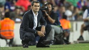 Valverde, en su debut liguero en el Camp Nou.