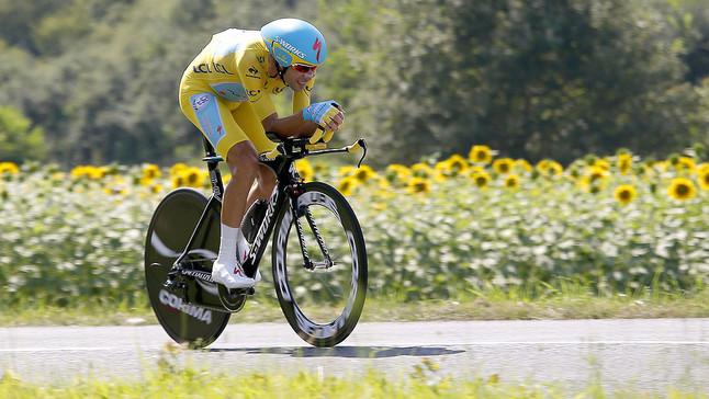 Vincenzo Nibali, durant la 20a etapa del Tour, la contrarellotge entre Bergerac i Périgueux.