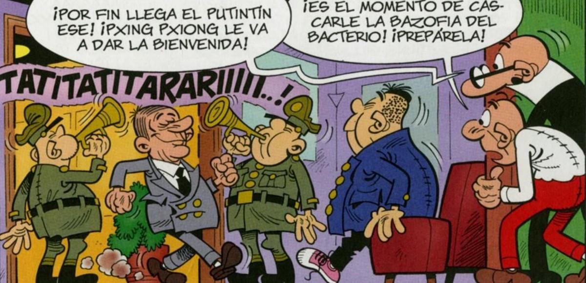 Viñeta del álbum Mortadelo y Filemón 'El 60 aniversario', con los álter egos de Putin y de Kim Jong-un.