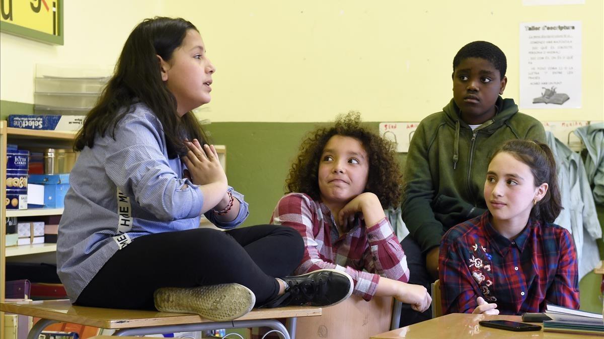 Dhouha, Anass, Sadrac y Alicia en un momento de la entrevista.
