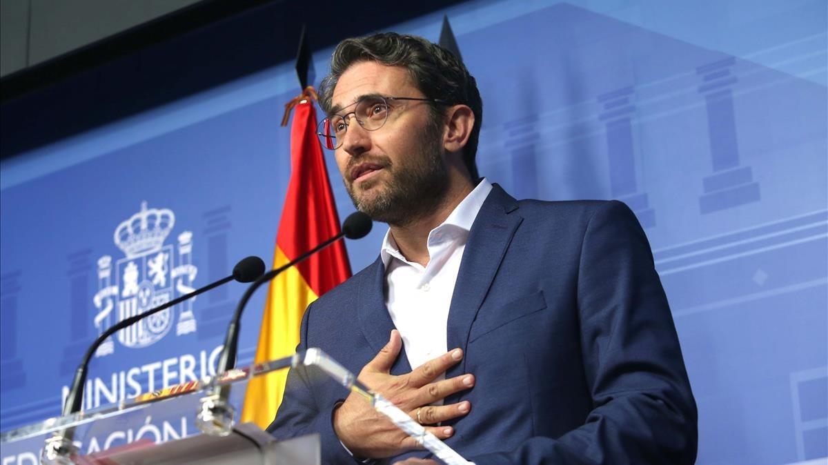 Máxim Huerta, en la comparecencia en que anunció su dimisión como ministro.