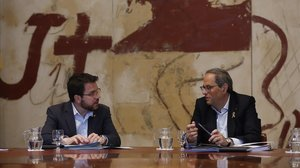 El 'vicepresident' Pere Aragonès y el 'president' Quim Torra.