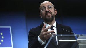 El presidente del Consejo Europeo, Charles Michel, durante su comparecencia tras la cumbre de Bruselas.