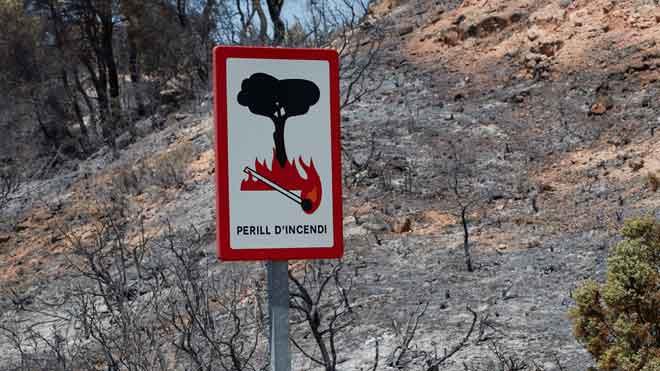 La zona quemada por el incendio de la Ribera d'Ebre (Tarragona).