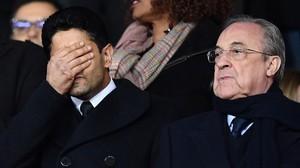 Nasser Al-Khelaifi parece lamentarse, ante Florentino Pérez, del último fracaso de su millonario equipo.